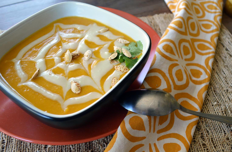 Halloween Chipotle Pumpkin Soup with Sweet Potato Cream
