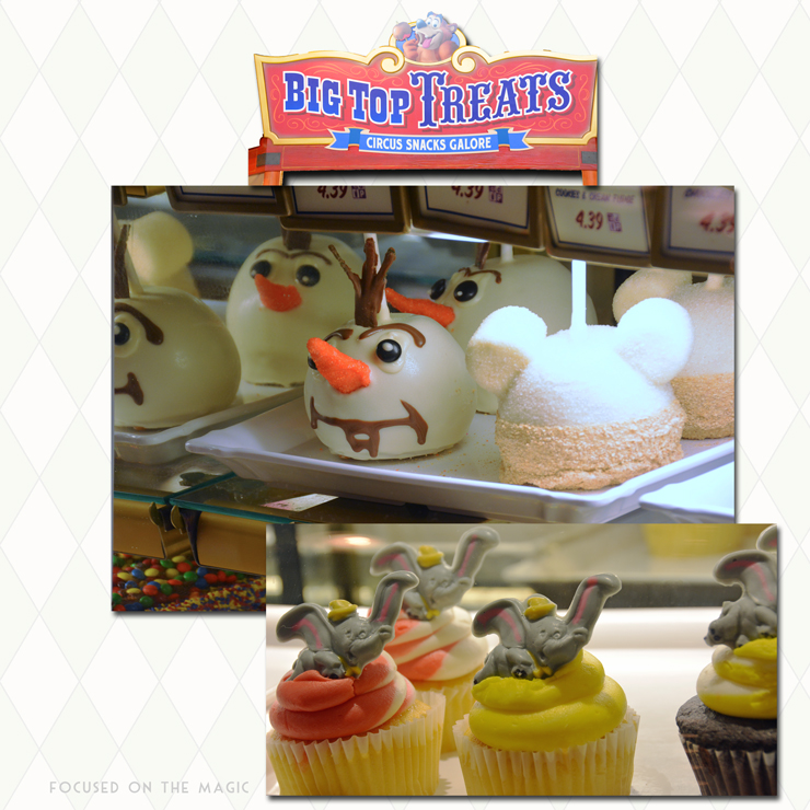 Olaf Caramel Apples and Dumbo Cupcake Display at Storybook Circus