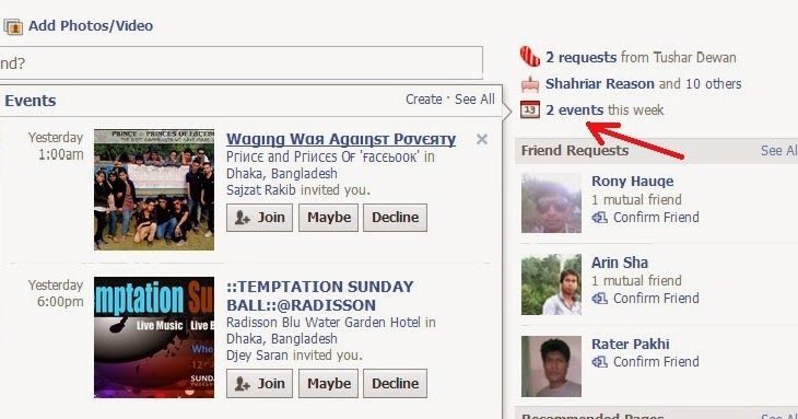 how to get notification from a friend on facebook
