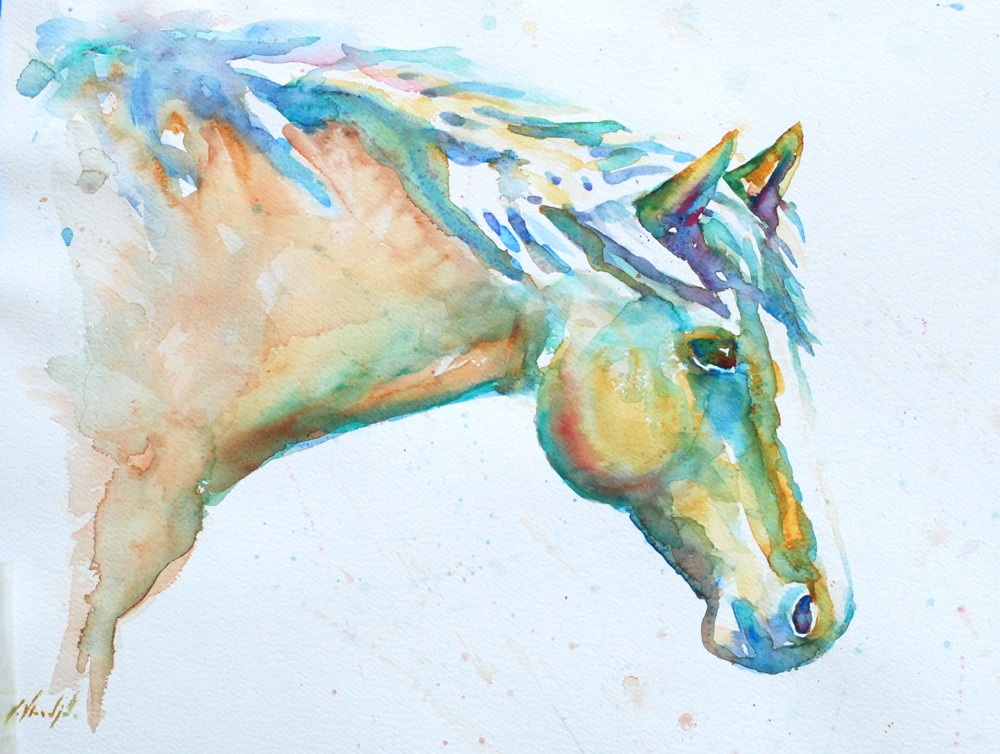 Horse Running In Water Painting