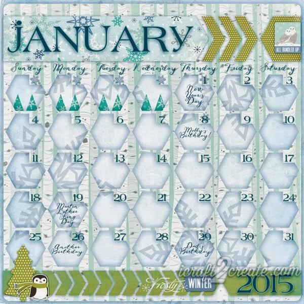 Digital, Photoshop, Calendar, January, 2015, Winter, Echo Park, Keepin' Cozy, Layout