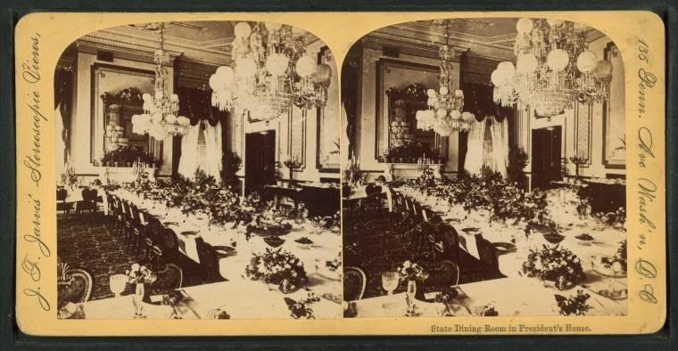 Stereoscopic View Of The White House State Dining Room Tables Set In Latter Half 19th Century Were Long At Time