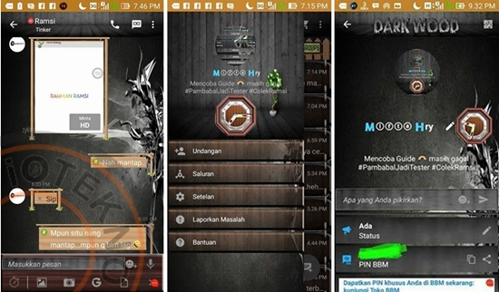 BBM Android Mod V2.9.0.44 Apk apk Terbaru Tema Dark Wood(Kayu)