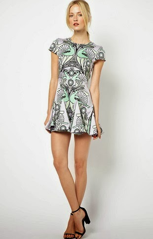ASOS, asos.com, UK, Alice McCall Azotic Topaz Dress in Heavy Cotton With Symmetrical Print, skater dress, peacock print, bird print