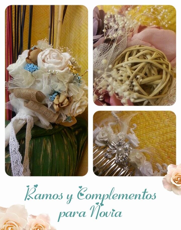 ramos de novia artesanales con materiales variados, y complementos para el pelo como peinetas, tocados o cintas realizados por encargo