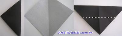 Morcego de origami feito de papel tutorial