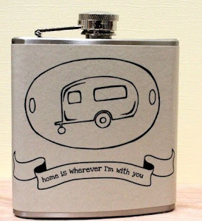 Ma Bicyclette: Buy Handmade | Whimsy and Ink Hip Flasks - Home Is Wherever I'm With You Hip Flask