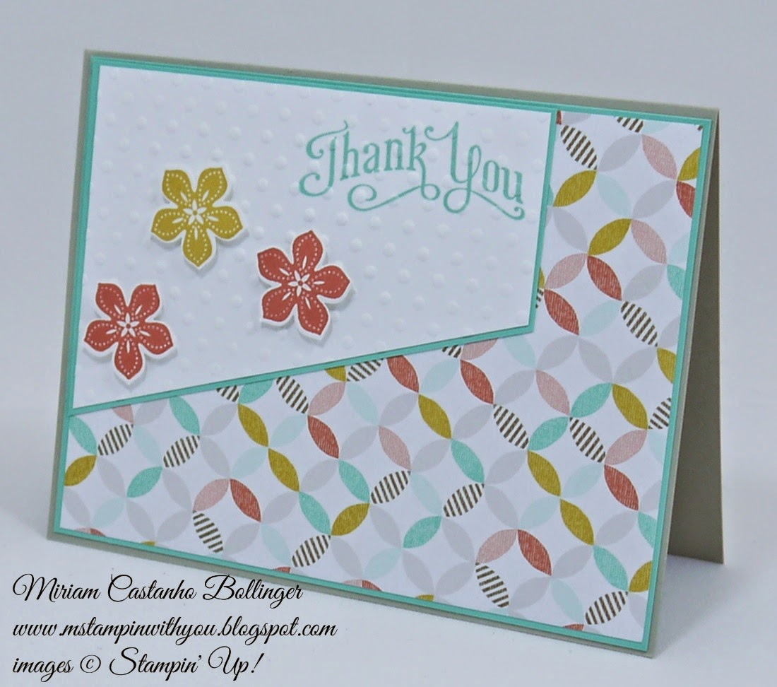 Miriam Castanho Bollinger, mstampinwithyou, stampin up, demonstrator, sssc 249, petite petals, petite petals punch, best year ever dsp, texture boutique machine, perfect polka dot, su
