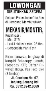 Lowongan Kerja MEKANIK/MONTIR Oktober 2015 Terbaru Di Lampung, Lowongan Kerja SMA/ SMK MEKANIK/MONTIR Oktober 2015 Terbaru, Lowongan Kerja D3 MEKANIK/MONTIR Oktober 2015 Terbaru, Lowongan Kerja D1 MEKANIK/MONTIR Oktober 2015 Terbaru, Lowongan Kerja S1/ Sarjana MEKANIK/MONTIR Oktober 2015 Terbaru, Lowongan Kerja Administrasi MEKANIK/MONTIR Oktober 2015 Terbaru, Lowongan Kerja Accounting MEKANIK/MONTIR Oktober 2015 Terbaru, Lowongan Kerja Driver/ Sopir MEKANIK/MONTIR Oktober 2015 Terbaru, Lowongan Kerja Satpam/ Scurity MEKANIK/MONTIR Oktober 2015 Terbaru, Lowongan Kerja Staff MEKANIK/MONTIR Oktober 2015 Terbaru, Lowongan Kerja CS/ Costumer Service di MEKANIK/MONTIR Oktober 2015 Terbaru, Lowongan Kerja IT di MEKANIK/MONTIR Oktober 2015 Terbaru, Karir Lampung di MEKANIK/MONTIR Oktober 2015 Terbaru, Alamat Lengkap MEKANIK/MONTIR Oktober 2015 Terbaru, Struktur Organisasi MEKANIK/MONTIR Oktober 2015 Terbaru, Email MEKANIK/MONTIR Oktober 2015, No Telepon MEKANIK/MONTIR Oktober 2015 Website/ Situs Resmi MEKANIK/MONTIR Oktober 2015 Terbaru, Gaji Standar UMR di MEKANIK/MONTIR Oktober 2015 Terbaru, Daftar Cabang Perusahaan MEKANIK/MONTIR Oktober 2015 Terbaru, Lowongan Kerja Penipuan MEKANIK/MONTIR Oktober 2015 Terbaru, Lowongan Kerja MEKANIK/MONTIR Oktober 2015 Terbaru di Bandar Lampung, Lowongan Kerja MEKANIK/MONTIR Oktober 2015 Terbaru di Metro, Lowongan Kerja MEKANIK/MONTIR Oktober 2015 Terbaru di Bandar Jaya, Lowongan Kerja MEKANIK/MONTIR Oktober 2015 Terbaru di Liwa, Lowongan Kerja MEKANIK/MONTIR Oktober 2015 Terbaru di Kalianda, Lowongan Kerja MEKANIK/MONTIR Oktober 2015 Terbaru di Tulang Bawang, Lowongan Kerja MEKANIK/MONTIR Oktober 2015 Terbaru di Pringsewu, Lowongan Kerja MEKANIK/MONTIR Oktober 2015 Terbaru di Kota bumi, Lowongan Kerja MEKANIK/MONTIR Oktober 2015 Terbaru di Krui, Lowongan Kerja MEKANIK/MONTIR Oktober 2015 Terbaru di Natar, Lowongan Kerja MEKANIK/MONTIR Oktober 2015 Terbaru di Blambangan Umpu, Lowongan Kerja MEKANIK/MONTIR Oktober 2015 Terbaru di Panara