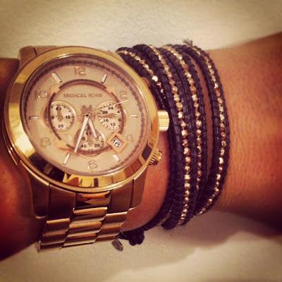 Michael Kors gold watch and rose gold Alden Rae wrap bracelet