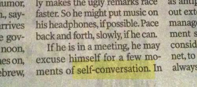 Close up of the story, which uses the term self-conversation instead