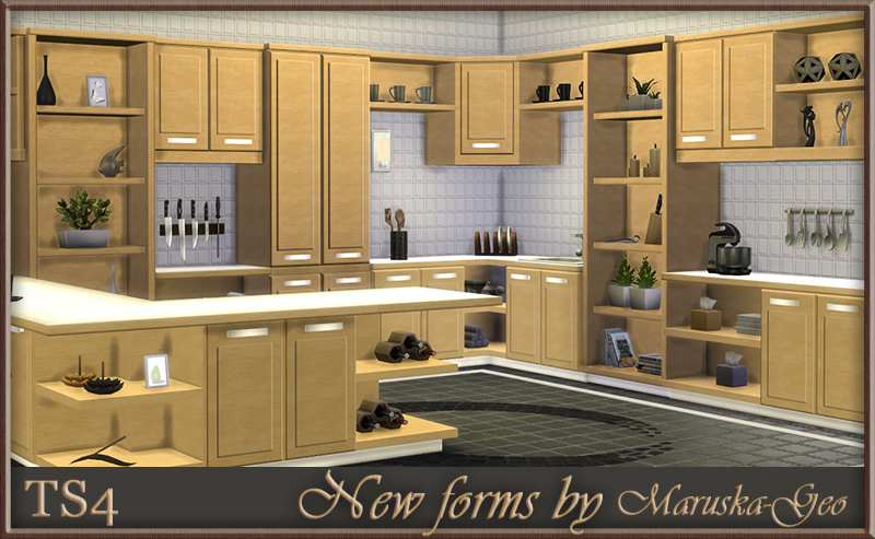 My sims 4 blog new forms kitchen cabinets by maruskageo for Cc kitchen cabinets