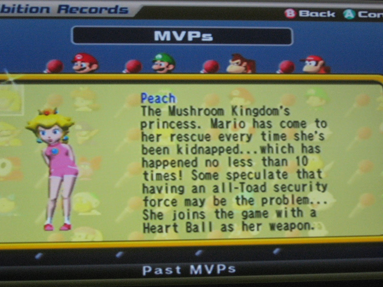 Peach MVP Mario Super Star Baseball description records MSB GameCube