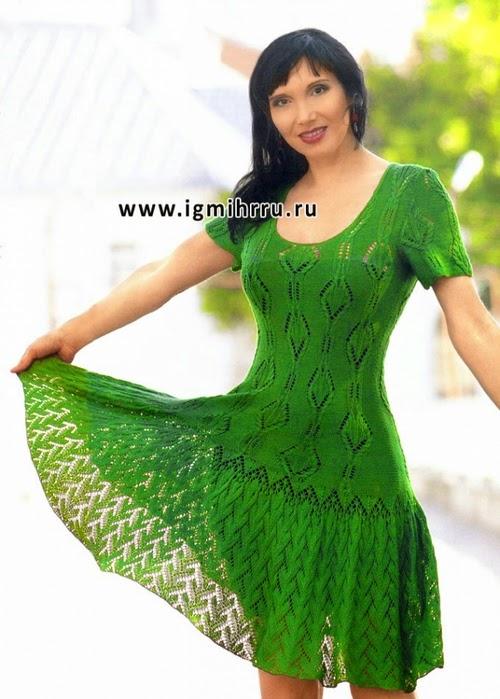 Vestido verde encantador tejido con dos agujas