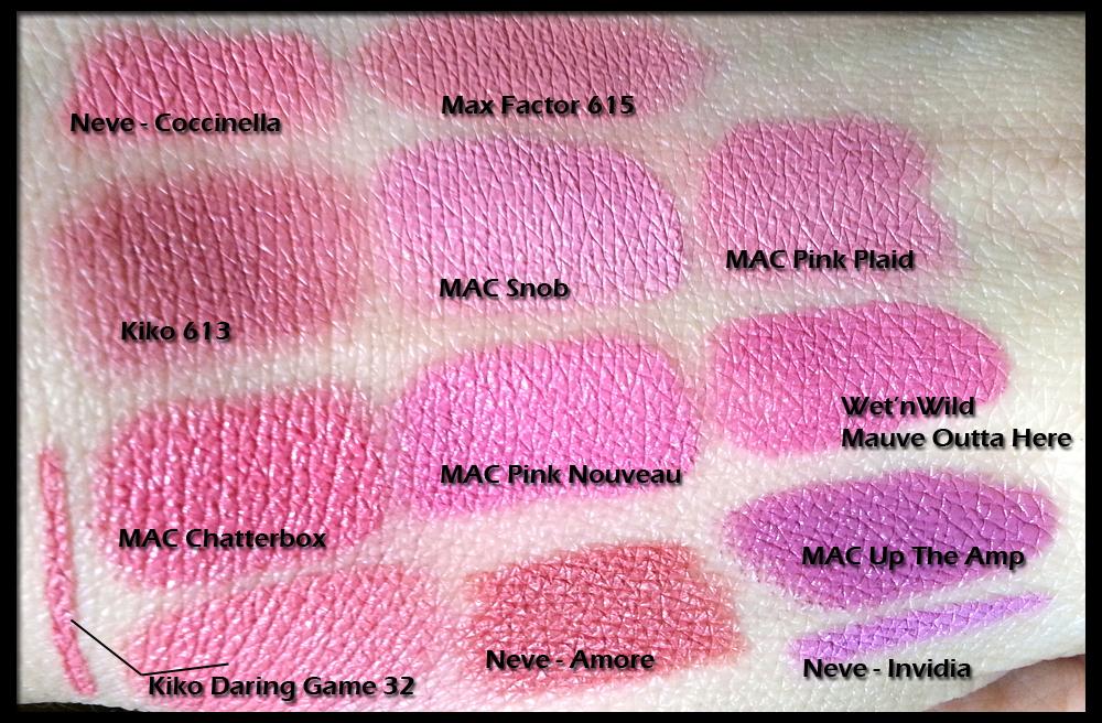 Swatch di confronto tra: Neve Cosmetics Pastello Labbra Coccinella; Max Factor Lipstick n° 615; Kiko Velvet Mat Lipstick n° 613; MAC Lipstick in Snob; MAC Lipstick in Pink Plaid; MAC Lipstick in Chatterbox; MAC Lipstick in Pink Nouveau; Wet n Wild Mega Last in Mauve Outta Here; Kiko Daring Game Ace of Diamond Lipstick n° 32 in Dainty Oleander Rose; Neve Cosmetics Pastello Labbra Amore; MAC Lipstick in Up The Amp; Neve Cosmetics Pastello Labbra Invidia
