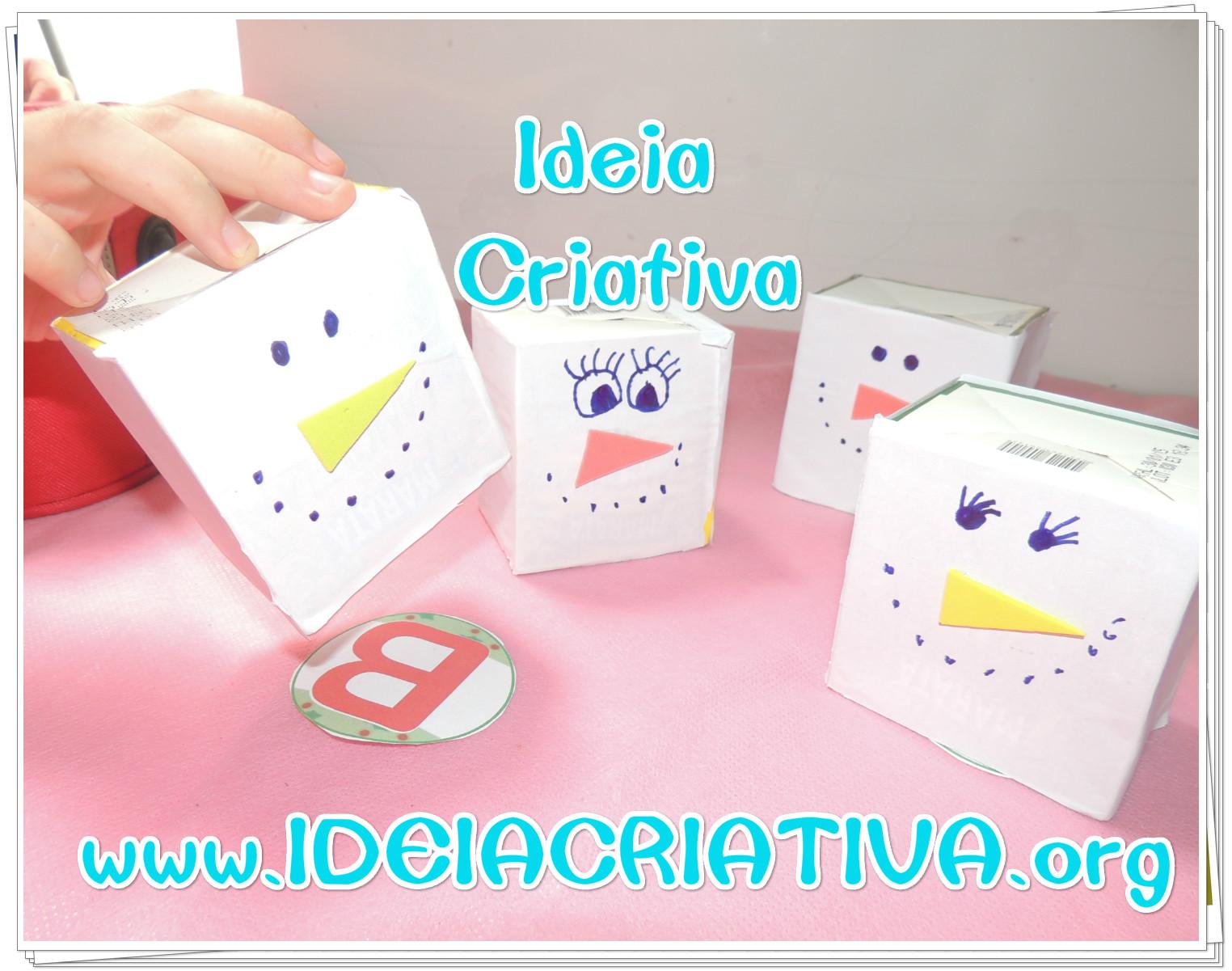 Boneco de Neve de Caixa de Chá com sugestão de jogo Atividade Natalina Educação Infantil