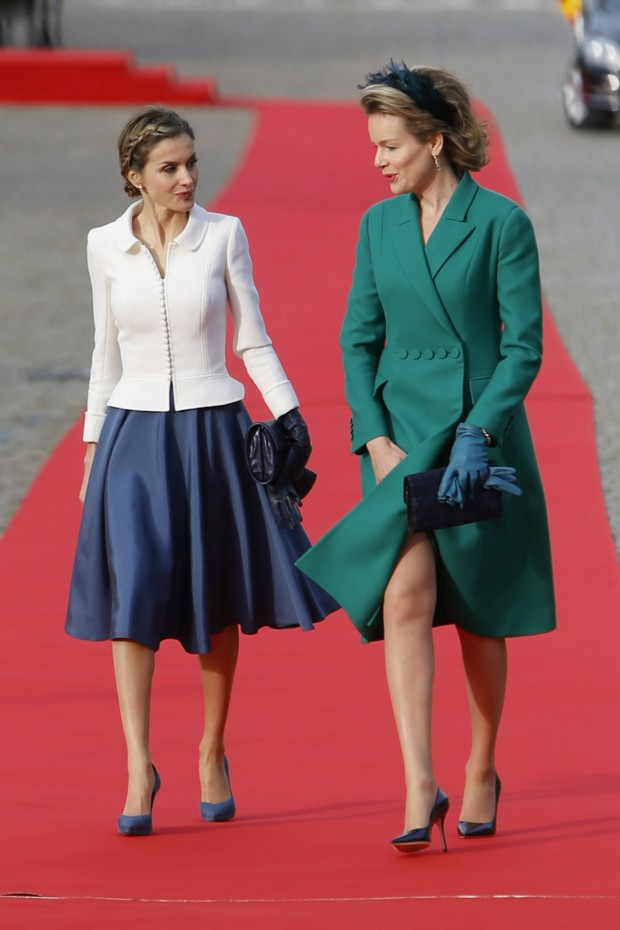 Queen Letizia of Spain is welcomed by Belgium's Queen Mathilde