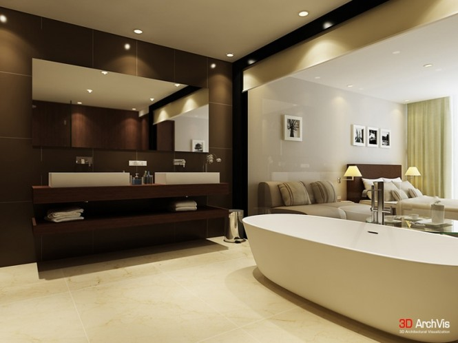 Baño De Tina Concepto:Cream and Brown Bathroom