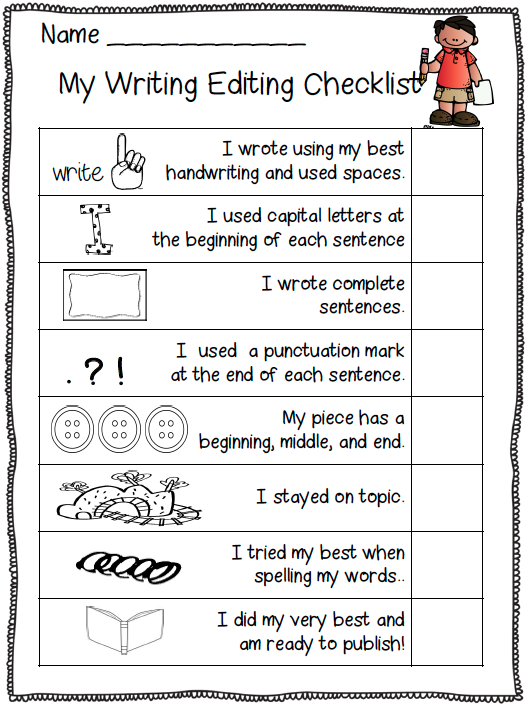 writing checklist for kindergarten