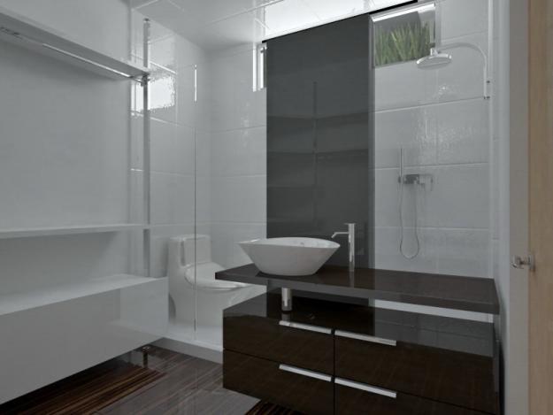 Baños Casas Minimalistas:Decoración Minimalista y Contemporánea: Vista de elegante baño con