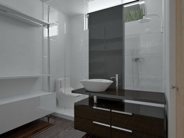 Decoracion Baño Elegante: Contemporánea: Vista de elegante baño con closet minimalista
