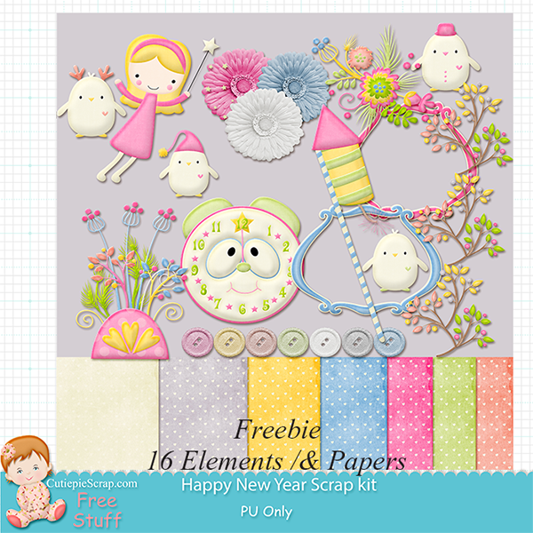 Free Happy new Year Digital Scrapbooking Kit renew