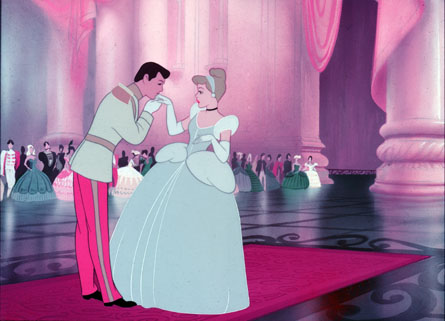 The Prince kisses her hand in Cinderella 1950 animatedfilmreviews.blogspot.com