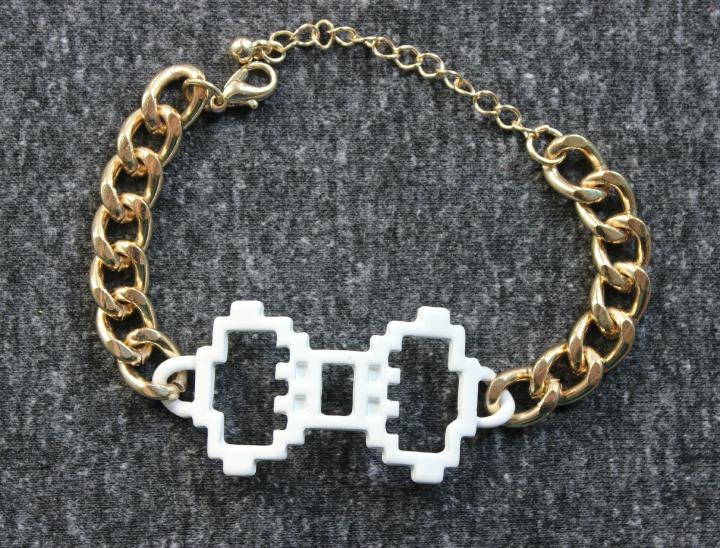 Digital Love Gold White Bow Bracelet Pixel Art 8-bit jewellry