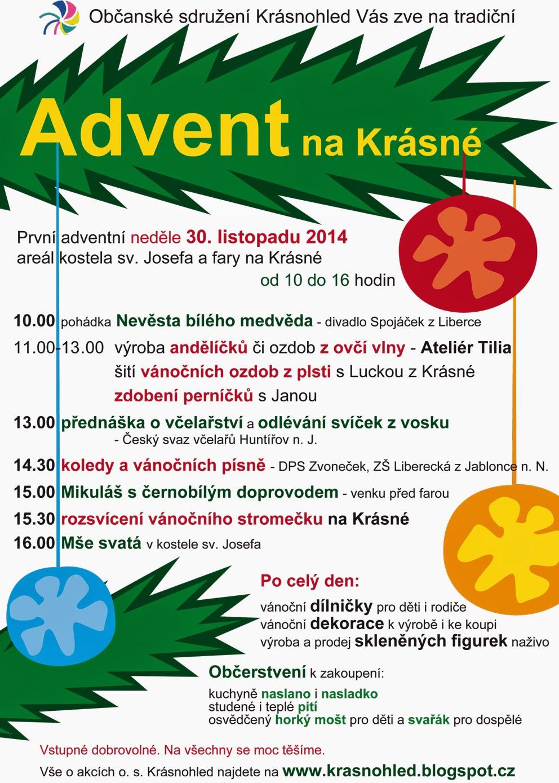 Advent na Krásné neděle 30. 11. 2014 plakát