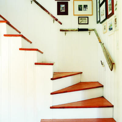 oars as handrails for stair