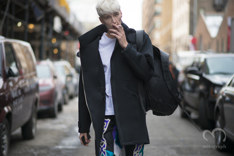 Silver hair Male Model Benjamin Jarvis at New York Fashion Week NYFW