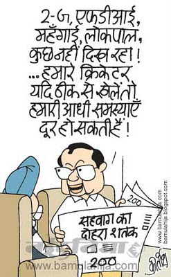 virender sehwag cartoon, cricket cartoon, indian political cartoon, FDI in Retail, manmohan singh cartoon, chidambaram cartoon