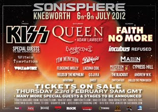 Kiss, Queen y Faith No More al Sonisphere UK en julio