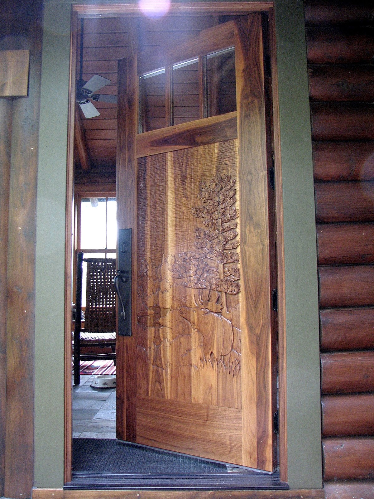Black, walnut, wood, carving, entry, door, john, huisman, minnesota, wildlife, moose