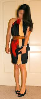 Wedding outfit Robert Rodriguez dress, Louboutin heels, and Bottega Veneta knot clutch