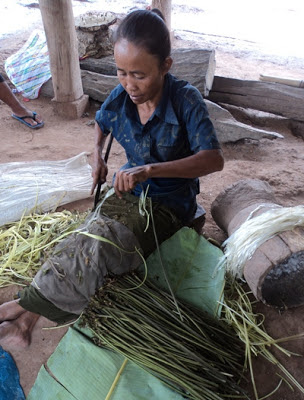 Photo: Khmu woman strips kheupiad vine to make yarn