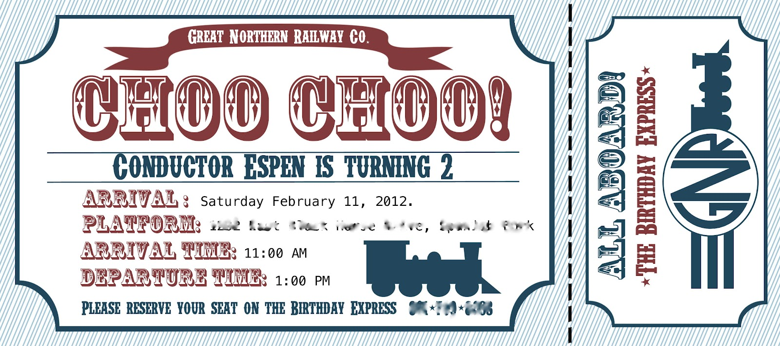 Project Project Train Birthday Invitation