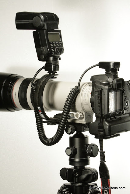 Meike OE-C3 Off-Camera Shoe Cord + Economy Telephoto Flash Bracket full setup
