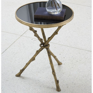 Small twig side table with black marble top