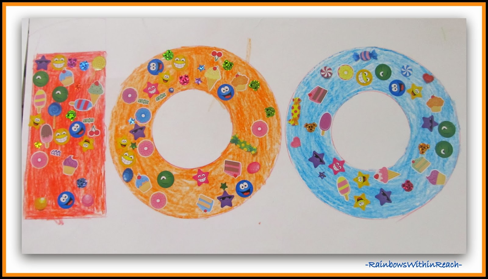 Kindergarten 100 Days Homework Project via RainbowsWithinReach