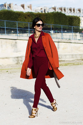 street style, candice lake, orange, burgundy, maroon, fall fashion, paris, fashion week