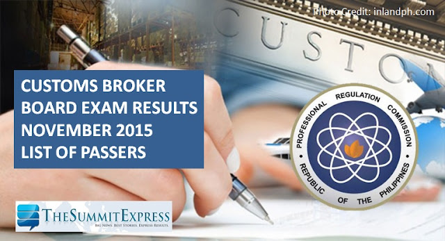 November 2015 Customs Broker board exam results