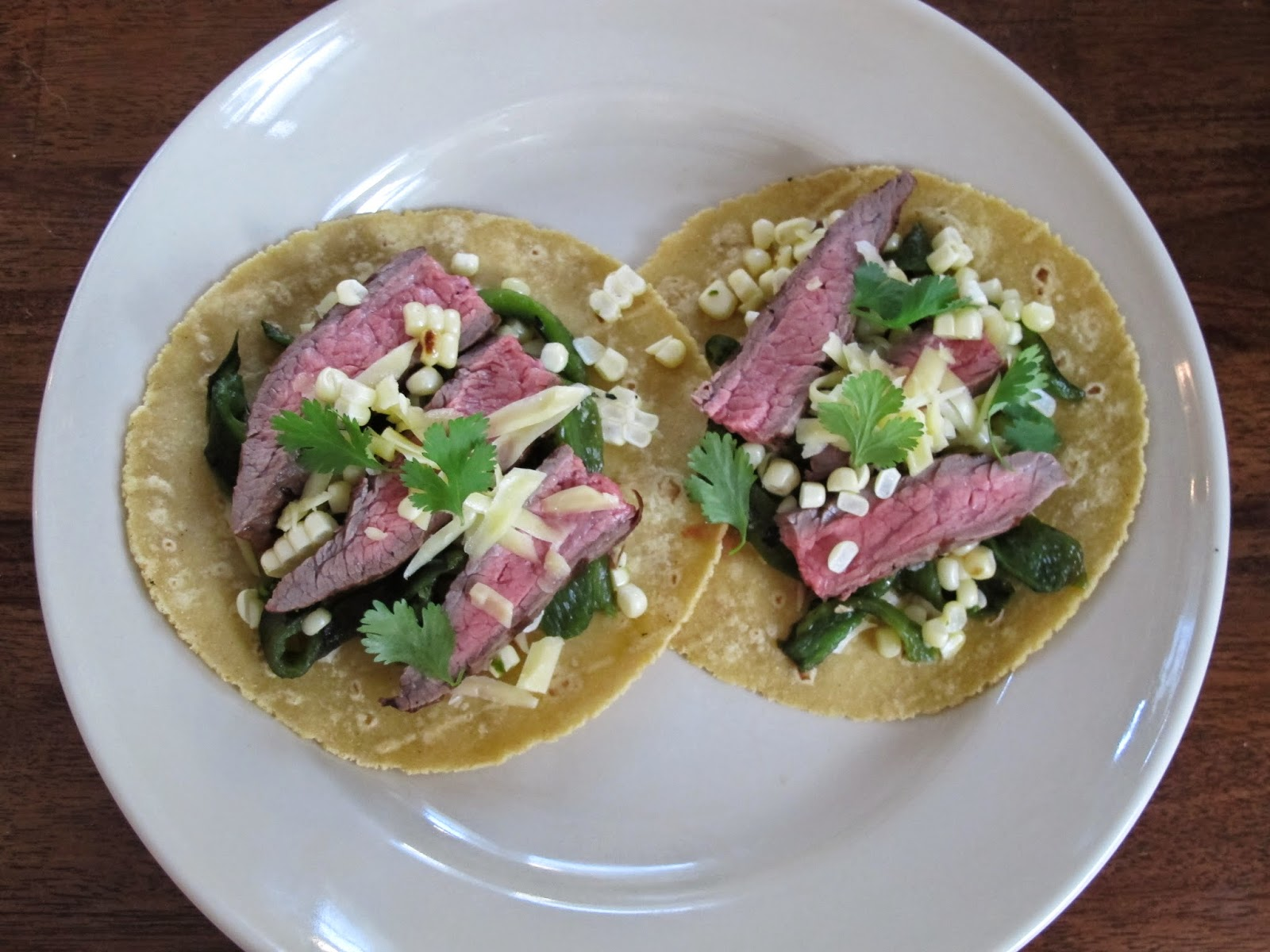 Grilled Flank Steak and Poblano Rajas and Corn Tacos