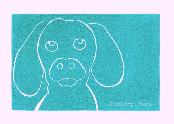 linocut art puppy gallery juana