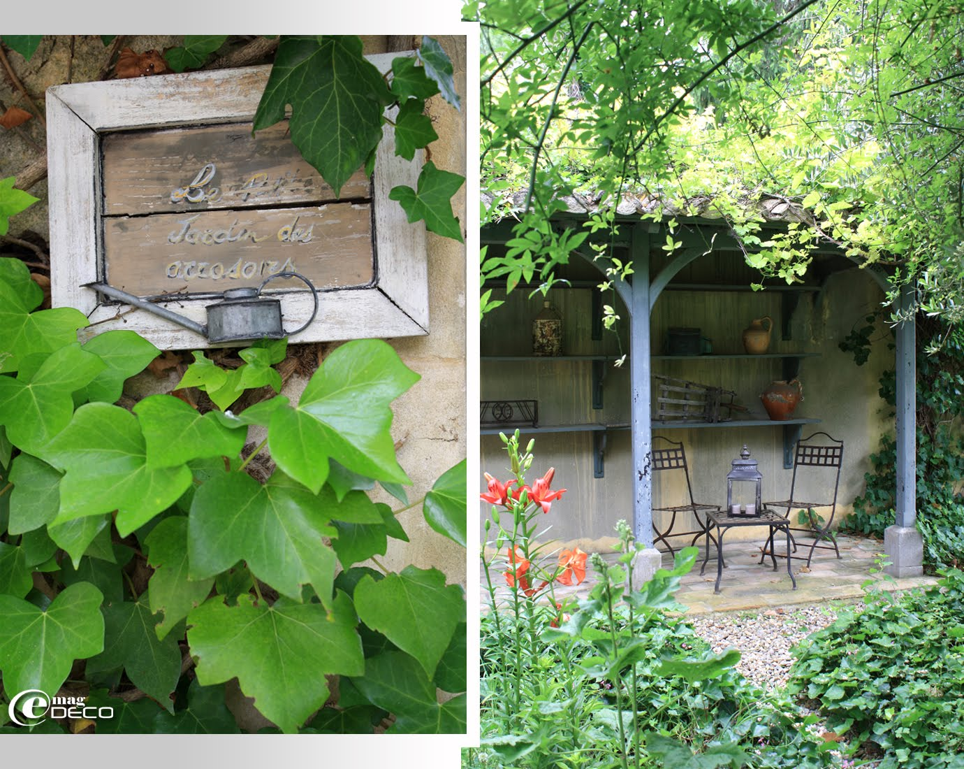 Mobilier de jardin Hervé Baume sous une pergola au Château de Christin
