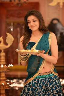Kajal Agarwal Looks Stunning in Sleeveless Blouse and Purple Saree WOW from movie Ram Leela