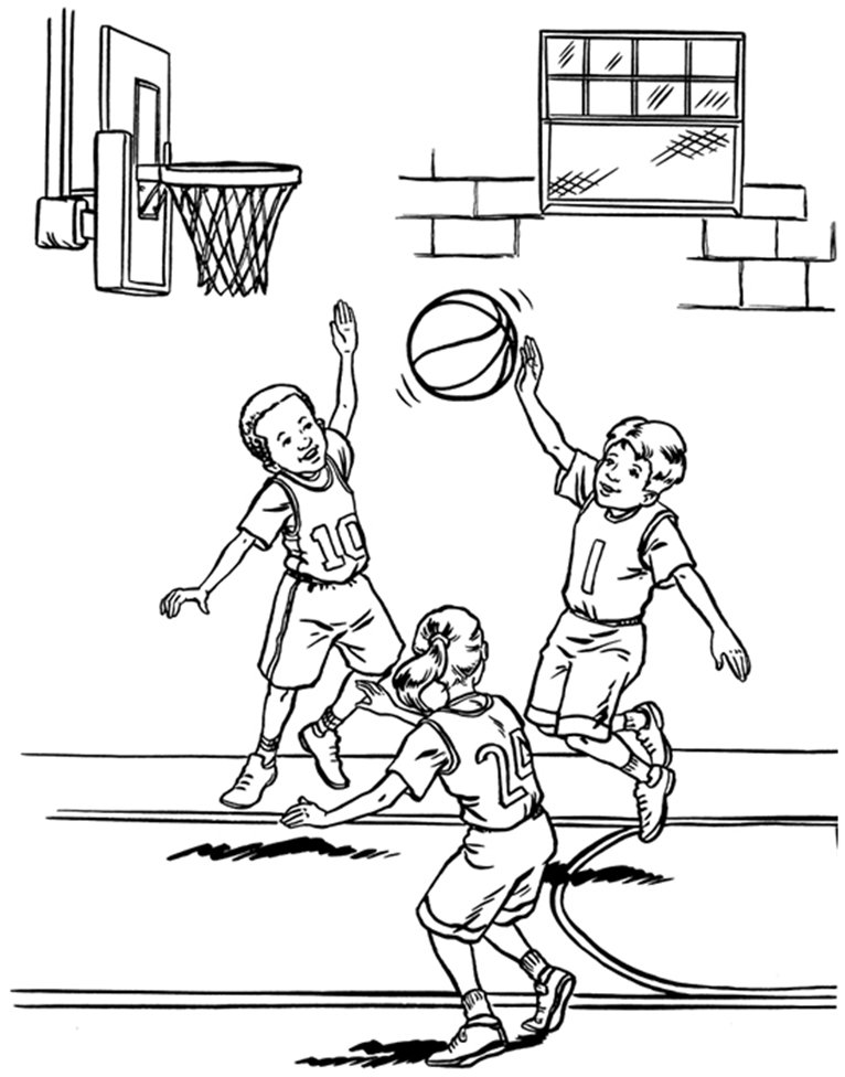 kids playing basketball coloring page - Basketball Coloring Page