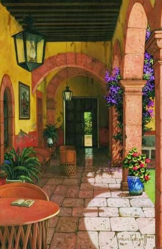 Im genes arte pinturas pintura paisaje colonial - Pintura para terrazas ...