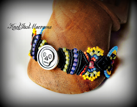 Beaded micro macrame bracelet Sugar Skull by Sherri Stokey of Knot Just Macrame.