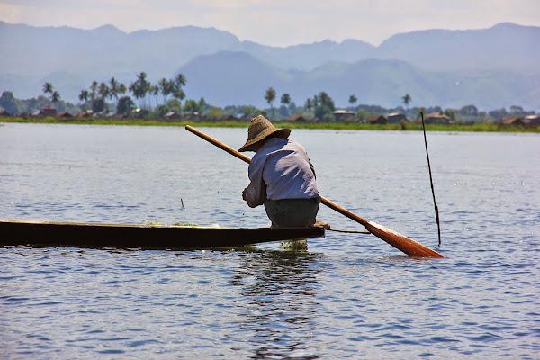 Pescadores en barca de madera - Lago Inle